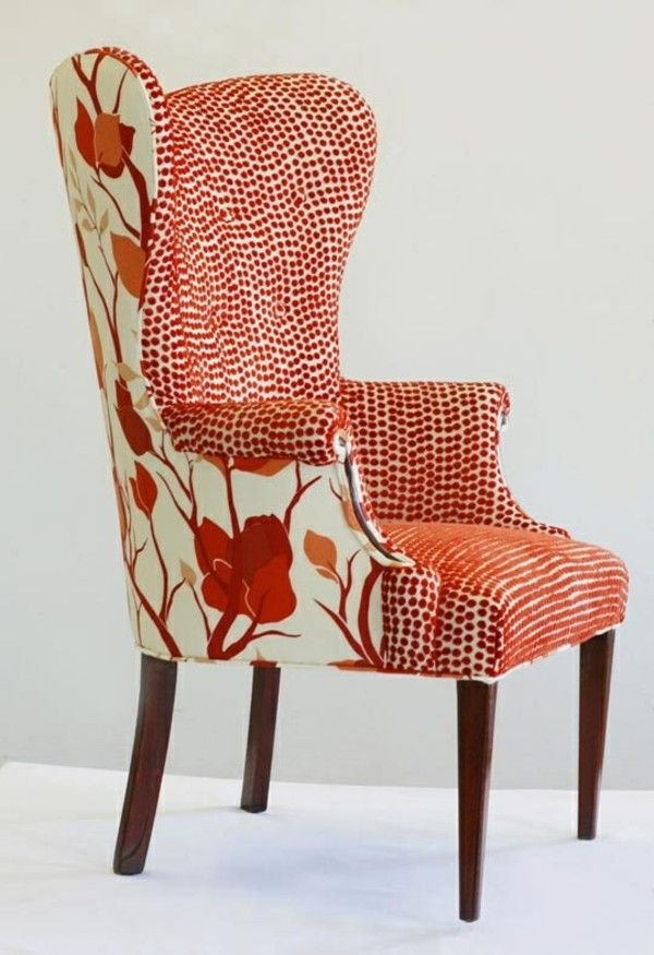 Superb Upholstery Upholstered Armchair Red Flower Dots Pattern New Obtain Allow
