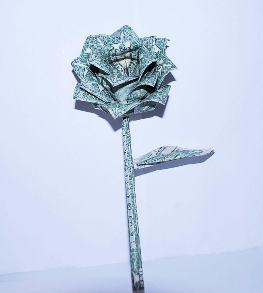 Money Origami Rose Us Dollar Bills Graduation Holiday Gift Decor