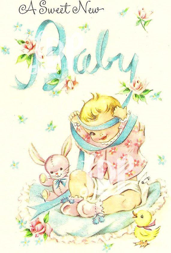 Vintage DIGITAL Sweet New Baby Card Cute by LittleDearPrints