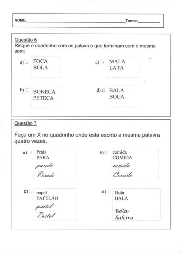 Avaliacao Diagnostica 2º Ano Portugues Folha 3 Artes Lindas