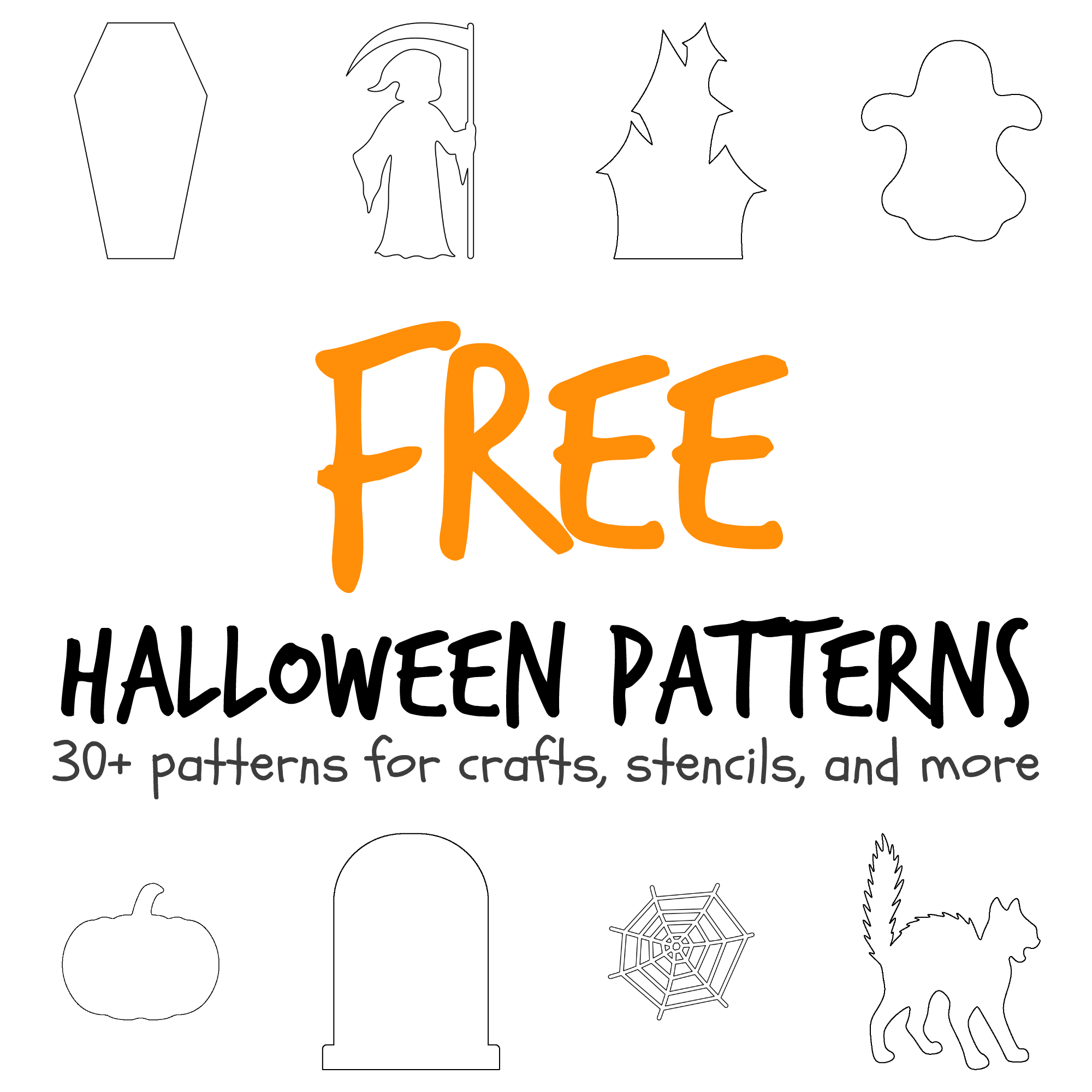 More than 30 Halloween-themed patterns including a coffin, haunted ...