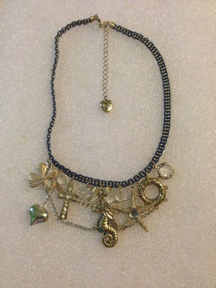 Betsey Johnson Necklace Nautical Sea Horse Life Saver Four Leaf Clover Rare #BetseyJohnson #Statement