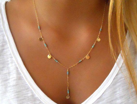 b07329e29881 Turquoise Lariat Necklace Layering Necklace 14K di annikabella Collar De  Lazo
