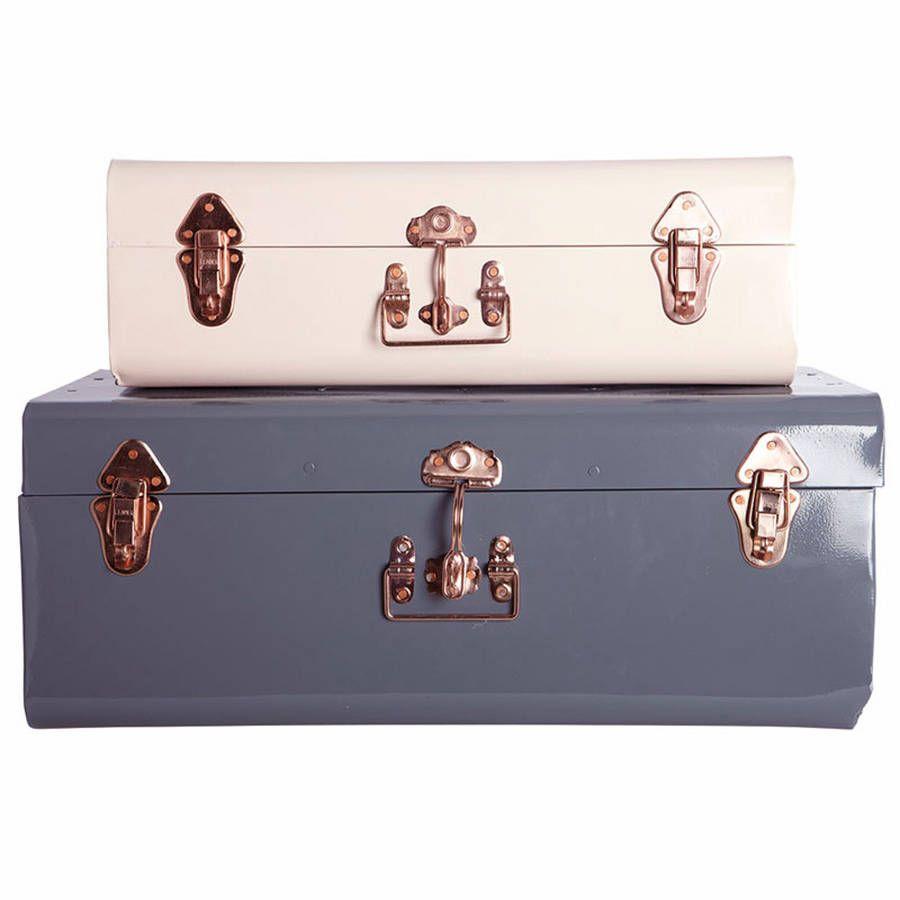 Metal Storage Trunk With Copper Detail | Storage trunk, Storage ...