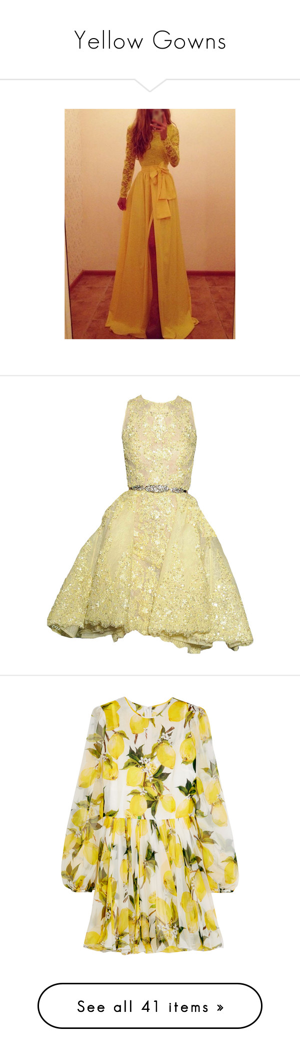 Yellow dress long sleeve  Yellow Gowns