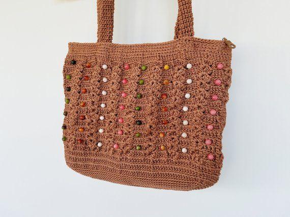 84f9045cc1b4a Beaded Brown Crochet Bag