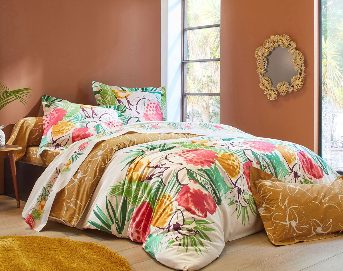 Linge De Lit Fleurs Exotiques Becquet Creation Decoration Maison Housse De Couette 200x200 Linge De Lit