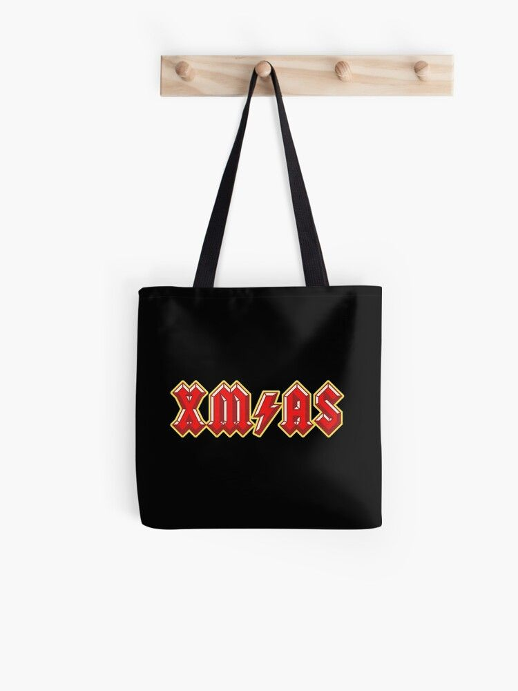 Xm As Ac Dc Rock And Roll Christmas Tote Bags In 2020 Christmas Tote Bags Christmas Bags Christmas Jumper Day