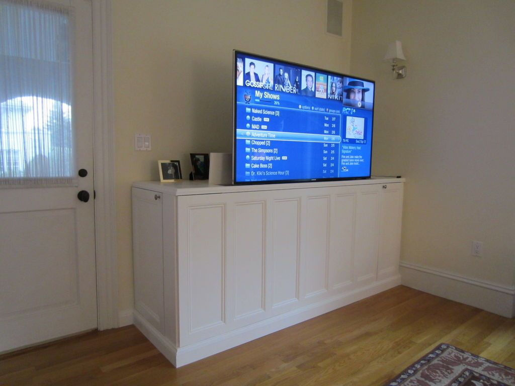 How To Make A Tv Lift Cabinet Tv Stand Room Divider Hidden Tv