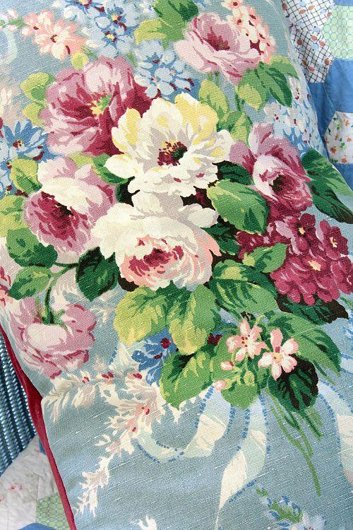 Vintage Home - 1930s Floral Linen Bouquet Cushion. | Beautiful ...