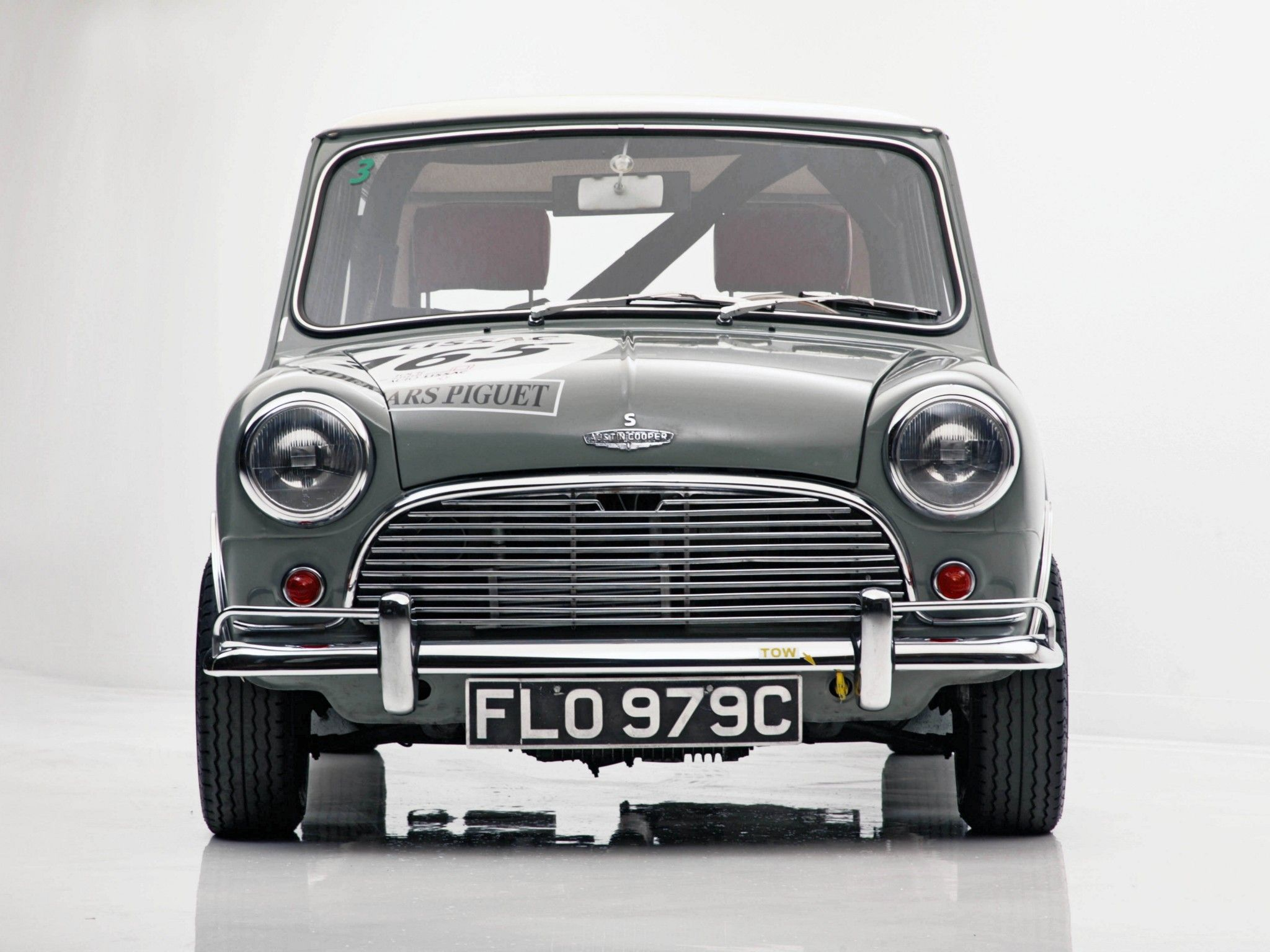 Classic Mini Cooper painting  front view by Phil Bower