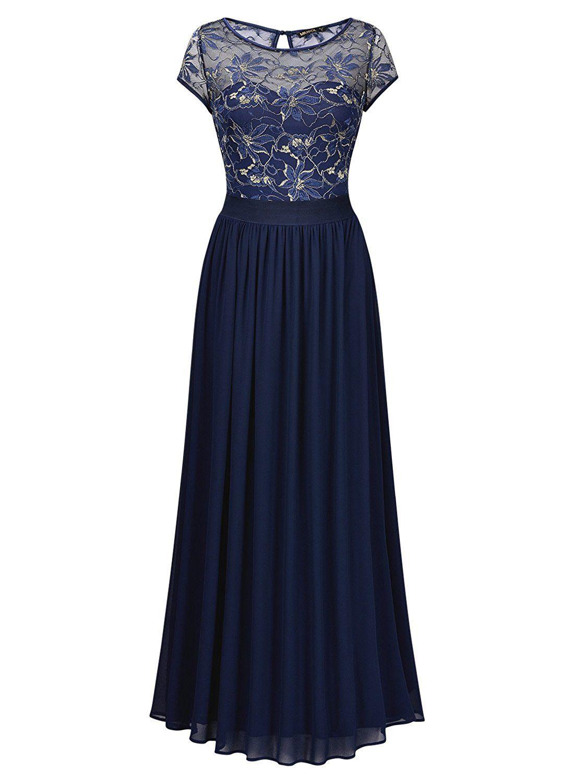 Miusol - Dunkelblaues Damen Spitzen-Kleid Lace Blume Stickerei ...