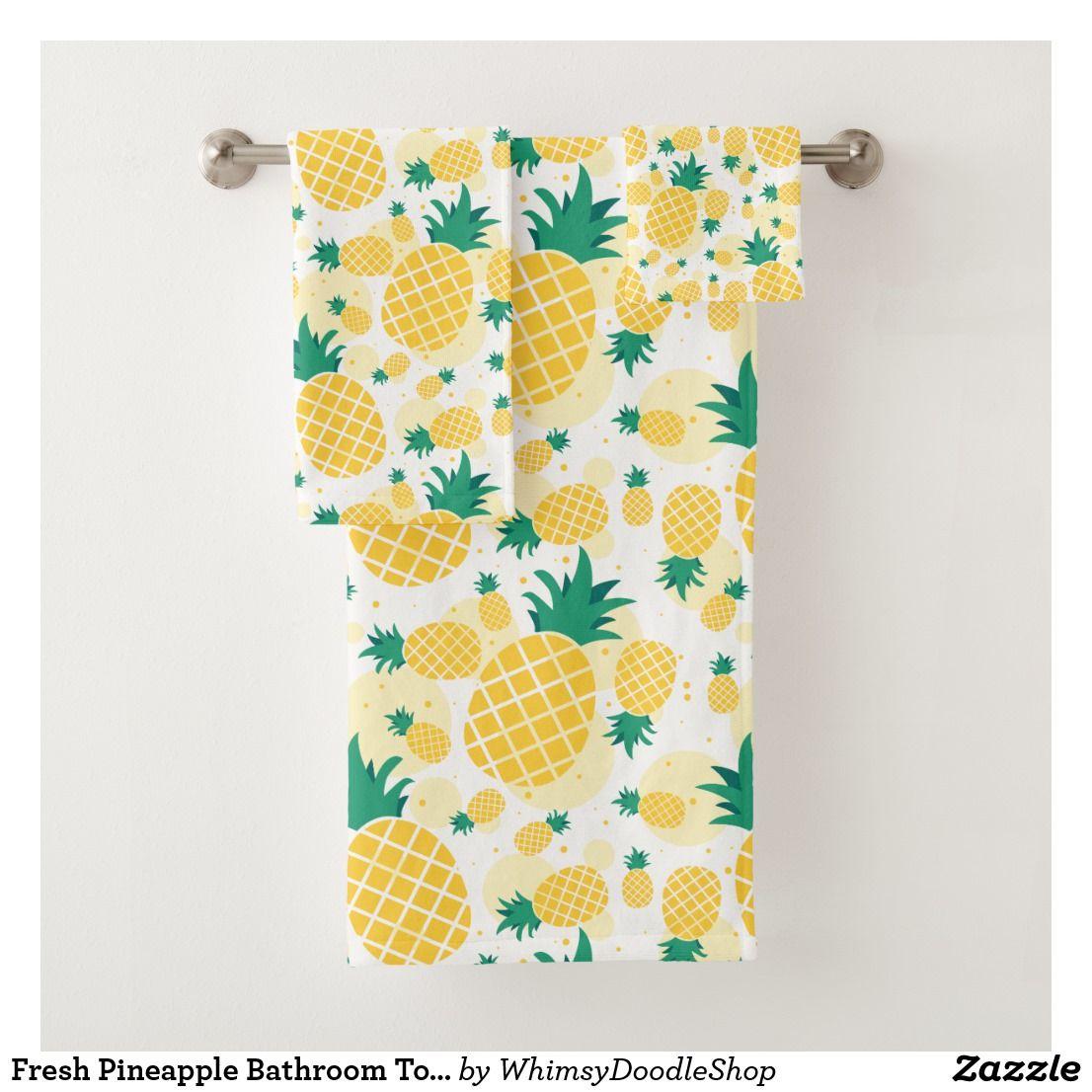 Fresh Pineapple Bathroom Towel Set in 2020