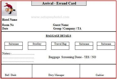 Errand Card Used In Hotels Arrival And Departure Errand Card For