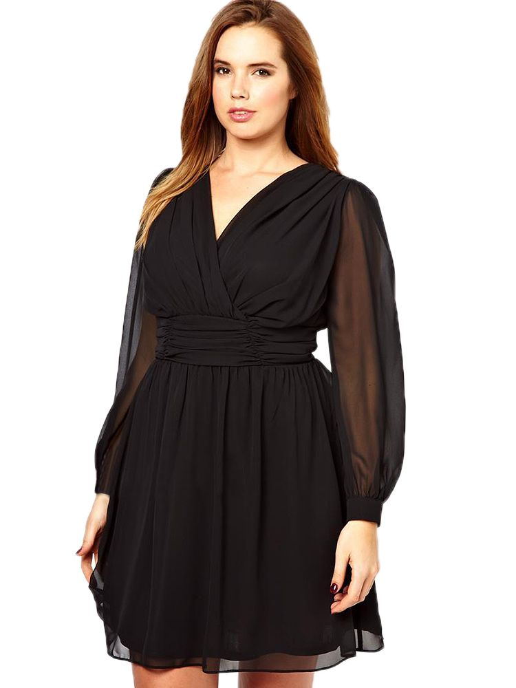 Women Plus Size Deep V Backless Long Sleeve Chiffon Dress | FITZ N ...