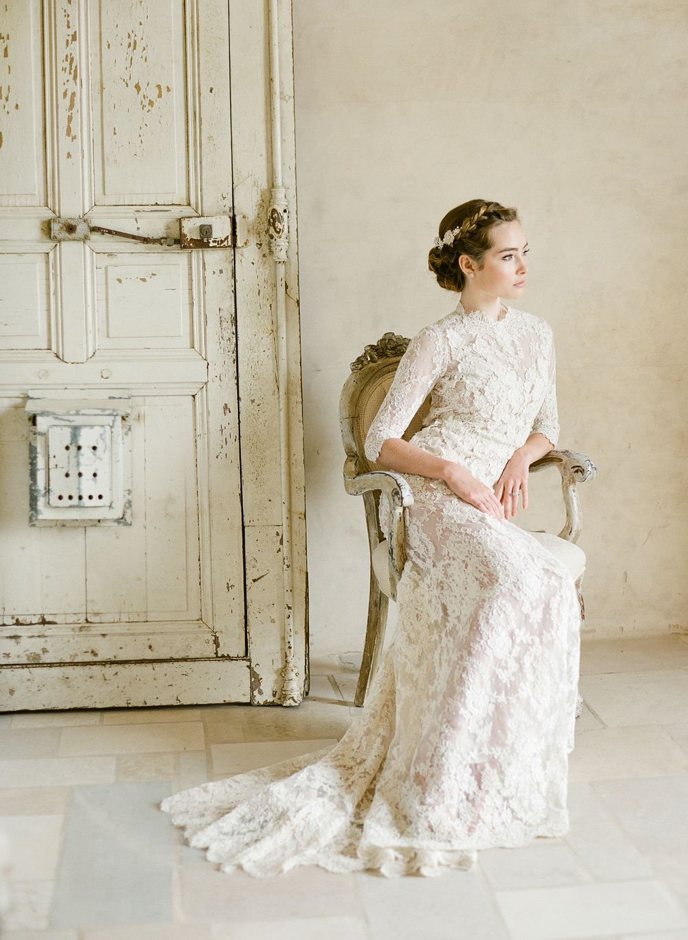 Bride Bridal Dress Wedding Lace Long Sleeve Wooden Door Updo Braid Bridal Hair Classic Inspiration
