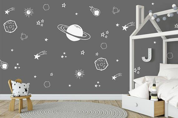 Space Wall Decals, Boys Room Decor, Outer Space Decal, Planet Wall Decal.