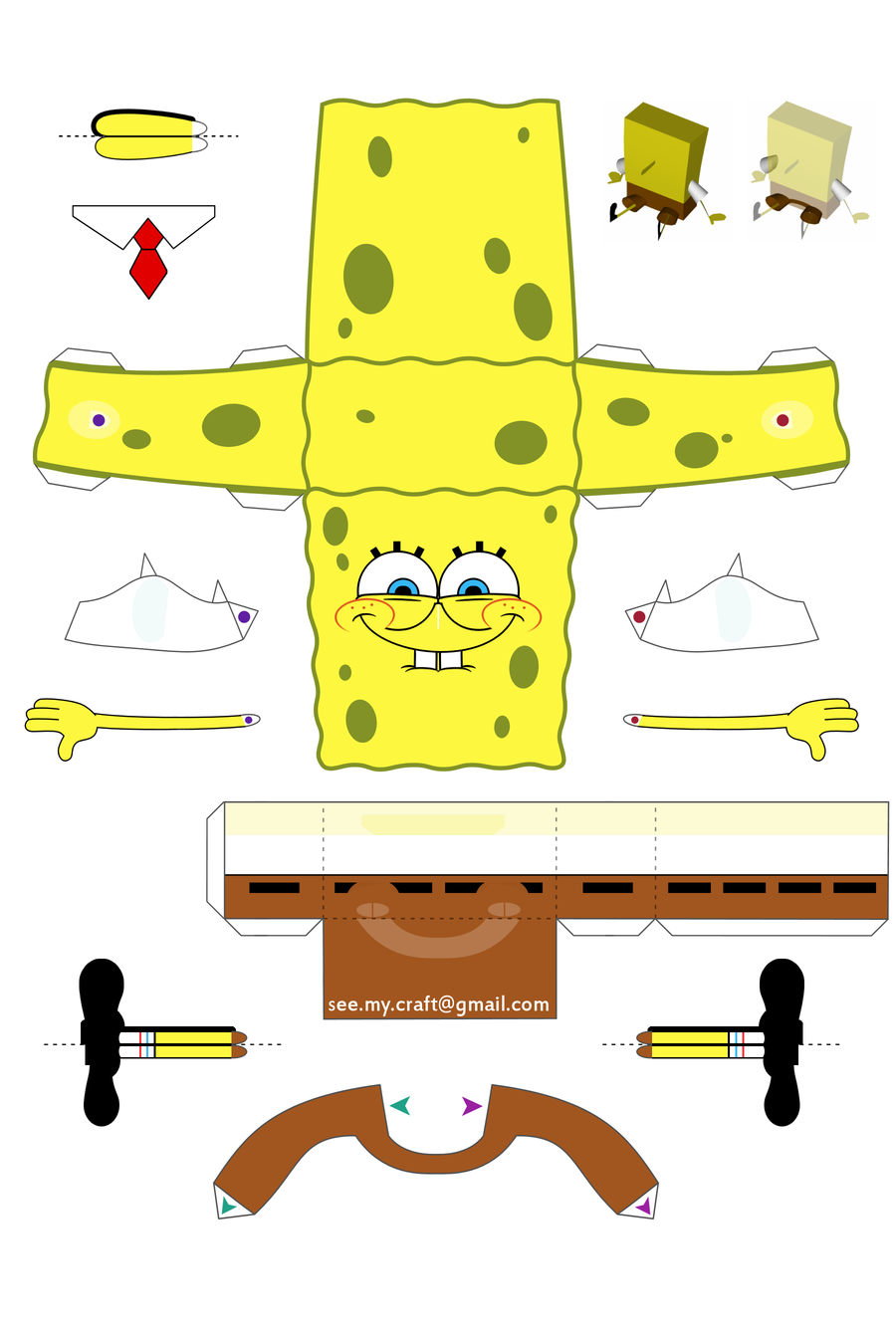 spongebob papercraft - instructions by ~kamibox on deviantart