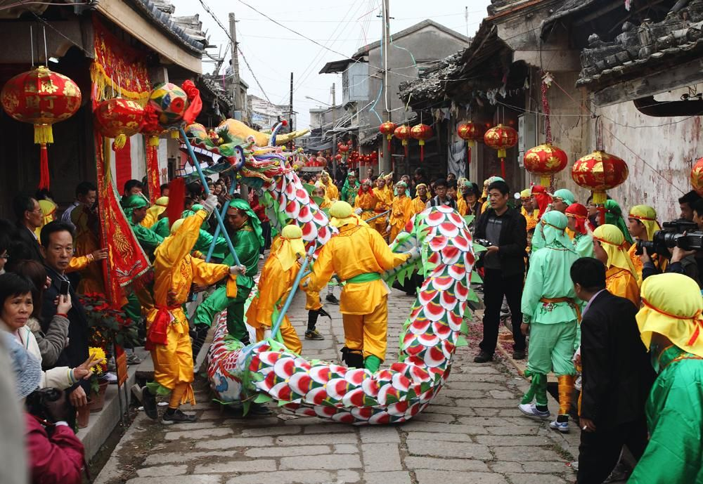 Dragon dance for Chinese Spring Festival Holidays in