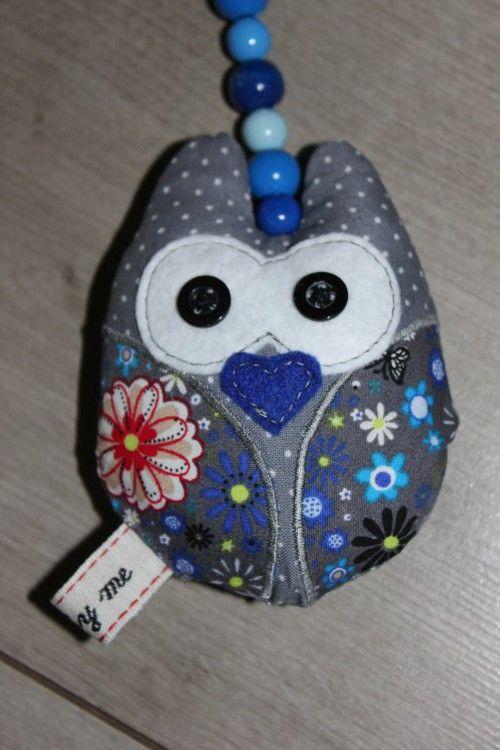 Eulen-Anhänger blau/grau › phia&phil | Handgemachte Baby ...