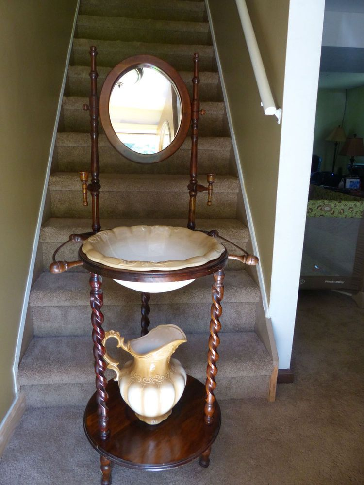 Antique Wash Basin Stand W Wash Bowl And Pitcher Sinks