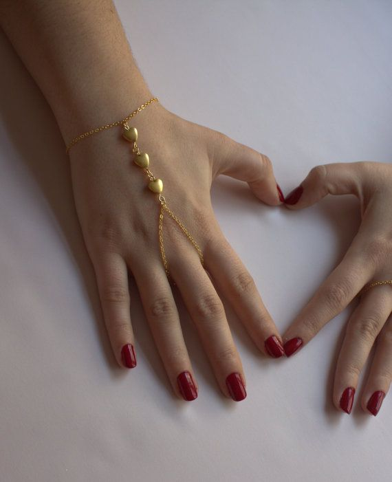 Gold Hearts Bracelet Hand Chain Finger Slave Ring