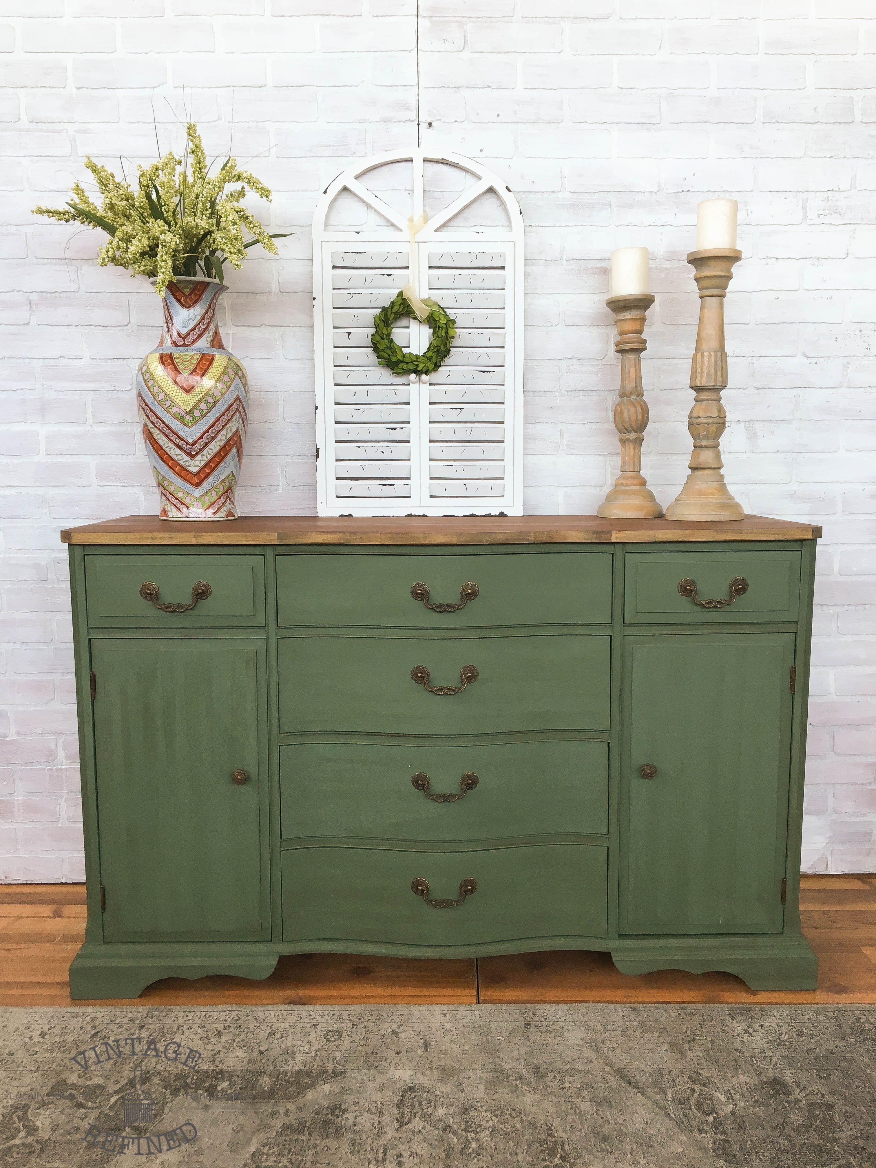Green Painted Buffet In A Mix Of Annie Sloan Olive Aubusson Blue Florence