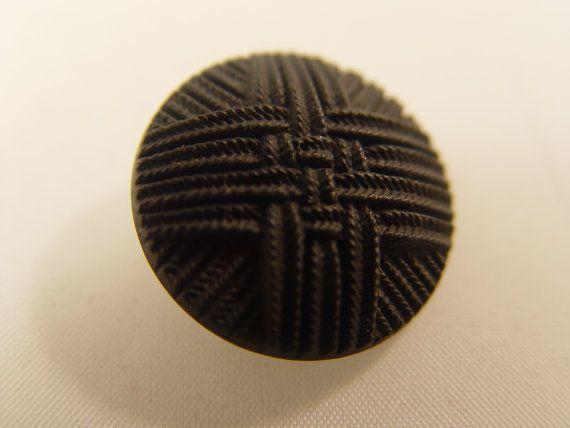 "Vintage Imitation Fabric Black Glass Button Matte Finish 7/8"" 1919"
