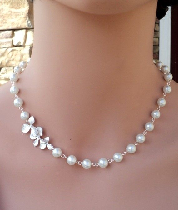 LOVE SALE Swarovski White Pearl and Orchid by RoyalGoldGifts