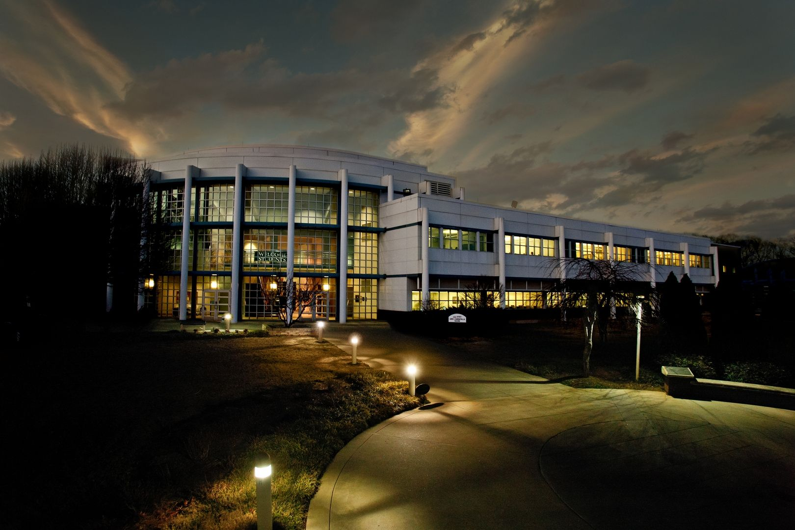 Lanier Tech's Forsyth Campus at night. Campus, House