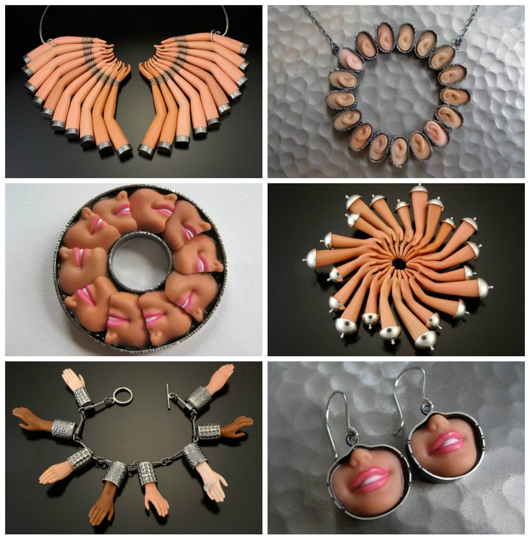 Margaux Lange's Plastic Body Series art jewelry collection utilizes salvaged Barbie doll parts in combination with sterling silver and pigmented resins. Th