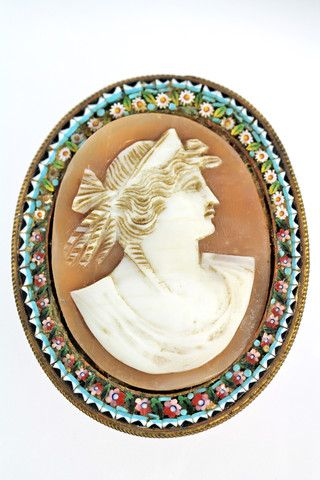 Millefiore Mosaic Carved Cameo Brooch Antique Italian – Yourgreatfinds