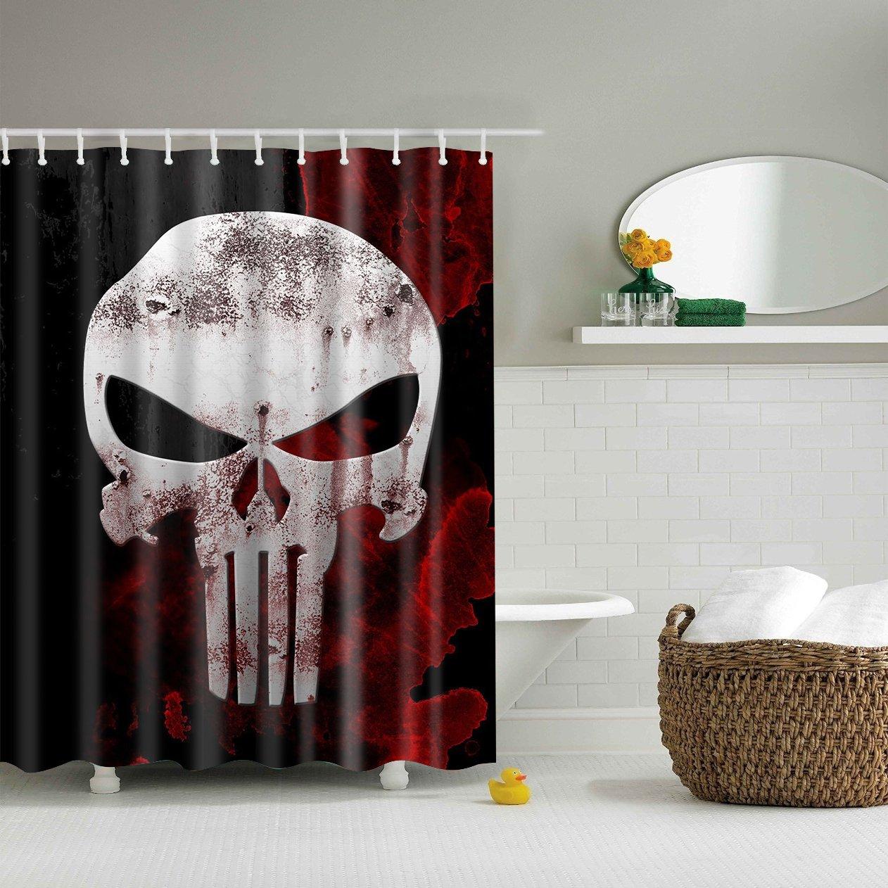 Punisher Shower Curtain Red And Black Bath Decor Halloween