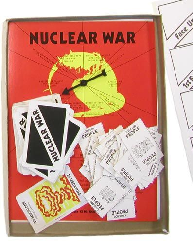 """""""Nuclear War,"""" which has been around since 1965, is described as a """"comical cataclysmic card game of global destruction."""" The box explains how the game is played as follows: """"two to six players engage in touchy negotiations until a warmonger pushes the button!"""" The game ends when only one, or no, country is populated. It is usually the case that everyone is wiped out and nobody wins Nuclear War."""