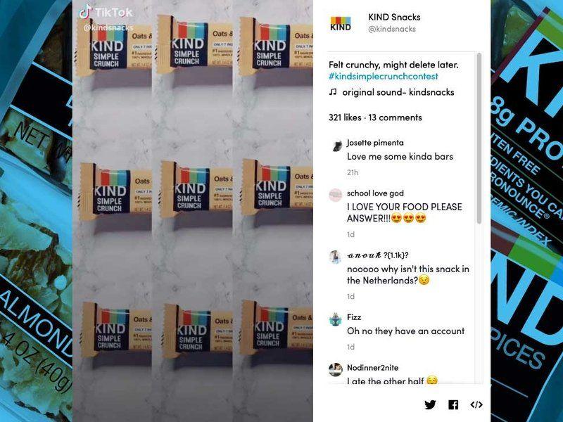 Kind S First Tiktok Hashtag Challenge Clocks Nearly 20 Million Views In 24 Hours Ad Age Website Traffic Kind Snacks Free Social Media Marketing