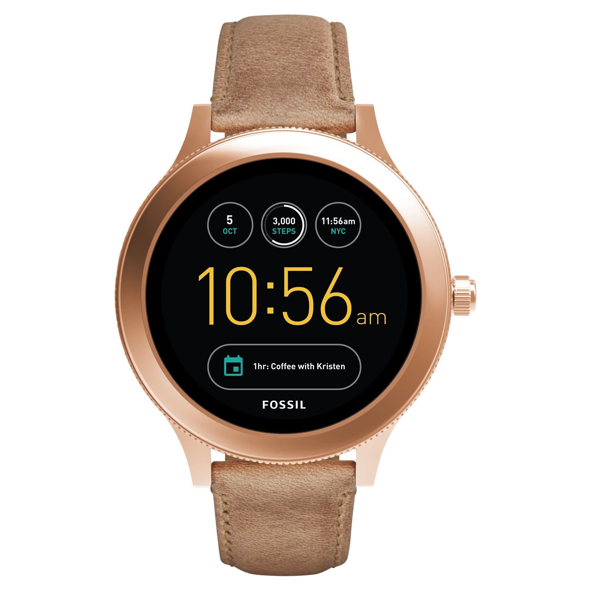 Fossil Gen 3 Smartwatch Q Venture 45mm Rose Gold Tone And Light Brown Leather Smart Watch Watches For Men Fossil Watches For Men