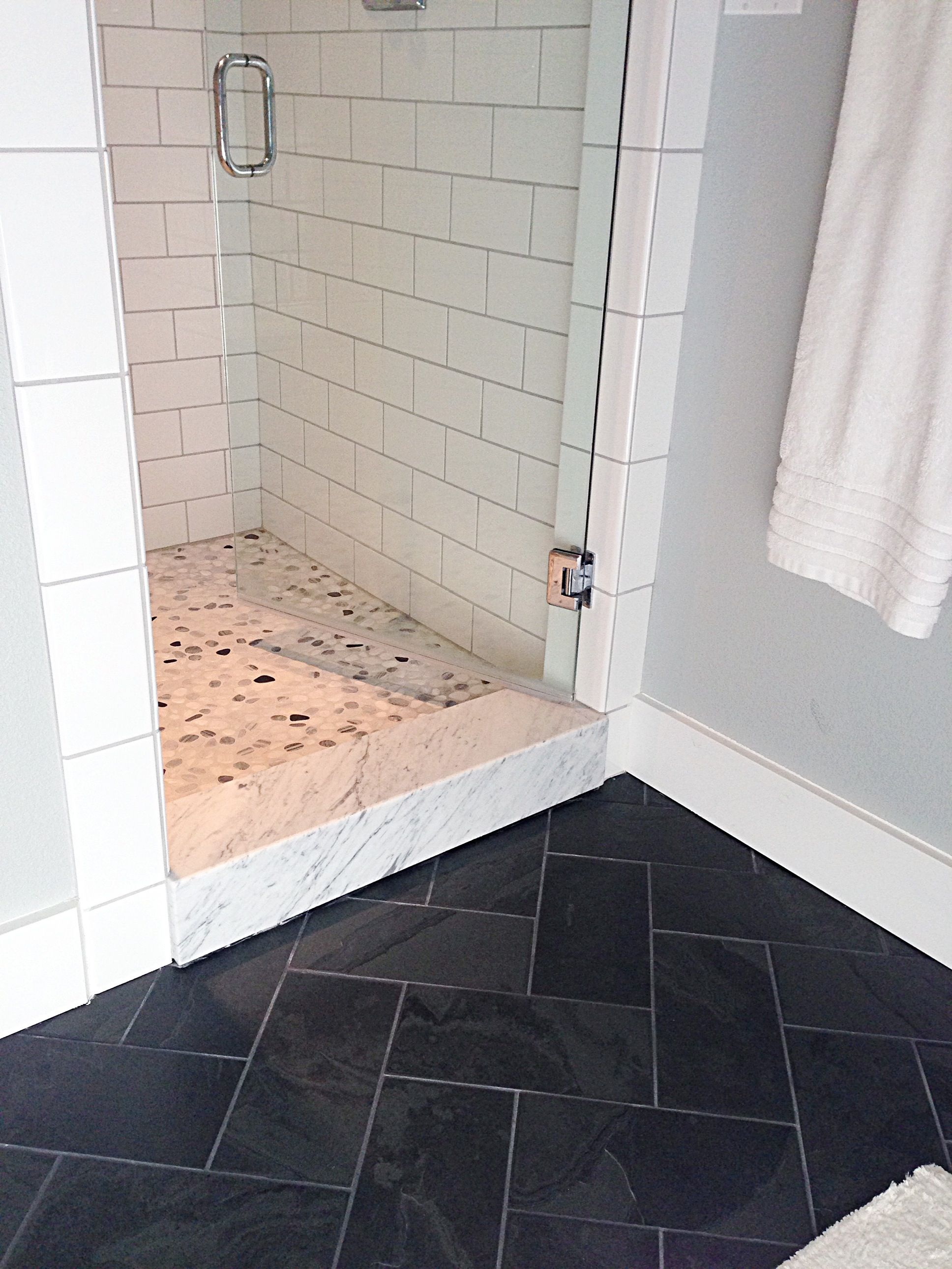 Slate floor, white subway, gray grout | Bathroom remodel ideas ...