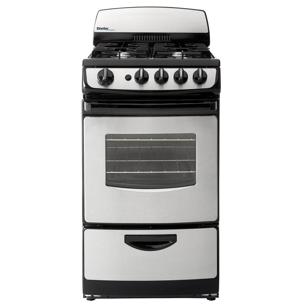 Danby 20 In 2 4 Cu Ft Gas Range With Manual Clean Oven In Stainless Steel And Black Dr201bssglp The Home Depot Oven Cleaning Danby Single Oven