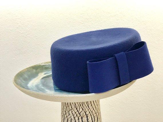 b2a0e0d30c5 royal blye pillbox hat  formal winter hat  Jackie O hat  blue felt hat  blue  winter hat for women