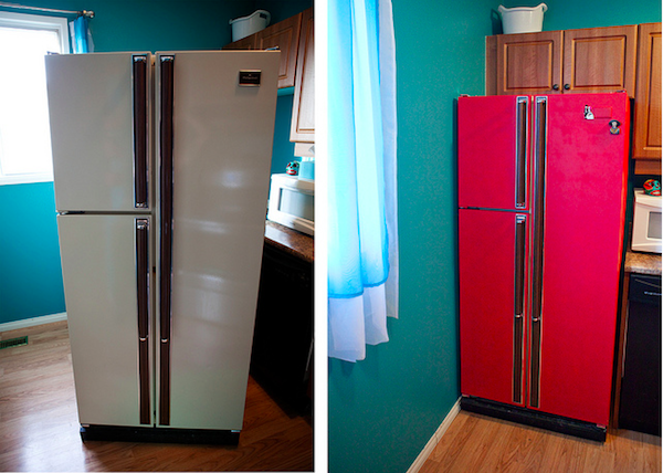 From 80s Fridge To A Brightly Coloured Message Station Home Old Refrigerator Painted Fridge