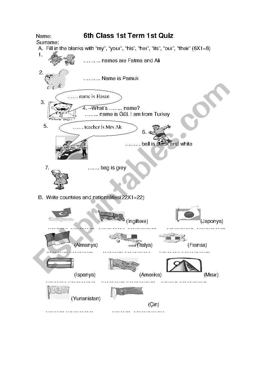 A beginner level worksheet