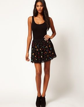 ASOS Skater Skirt with Gem Jewels