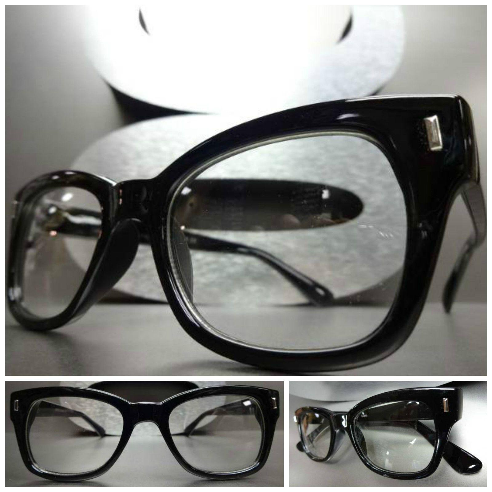 d7fe323896 Men s Women Vintage Retro Style Clear Lens Eye Glasses Thick Black Fashion  Frame