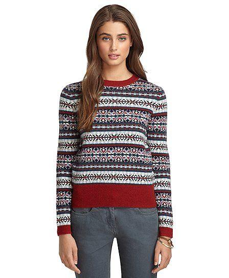 Long-Sleeve Fair Isle Crewneck Sweater | Brooks Brothers | Fall ...