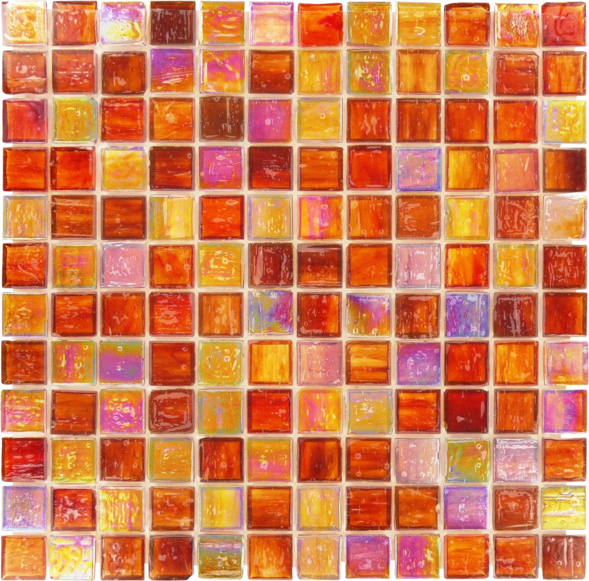 This Glossy Orange Glass Tile Is A Classic Option For Creating A
