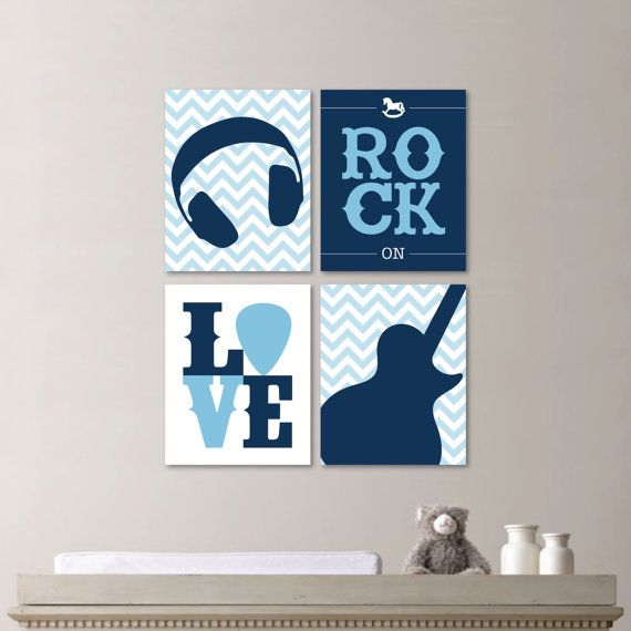 Baby Boy Nursery Art - Baby Boy Nursery Decor - Rockstar Nursery Art - Rockstar Nursery - Rock and Roll Nursery - Rockstar Bedroom (NS-566)