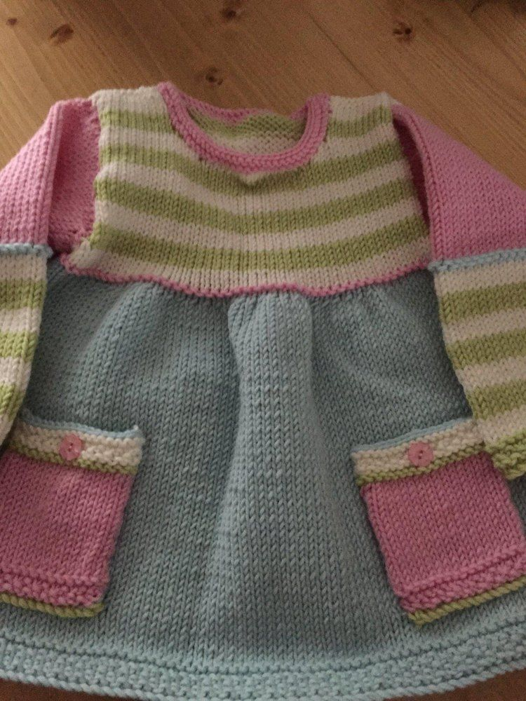 Pretty in stripes baby dress Knitting pattern by Tracy Wright