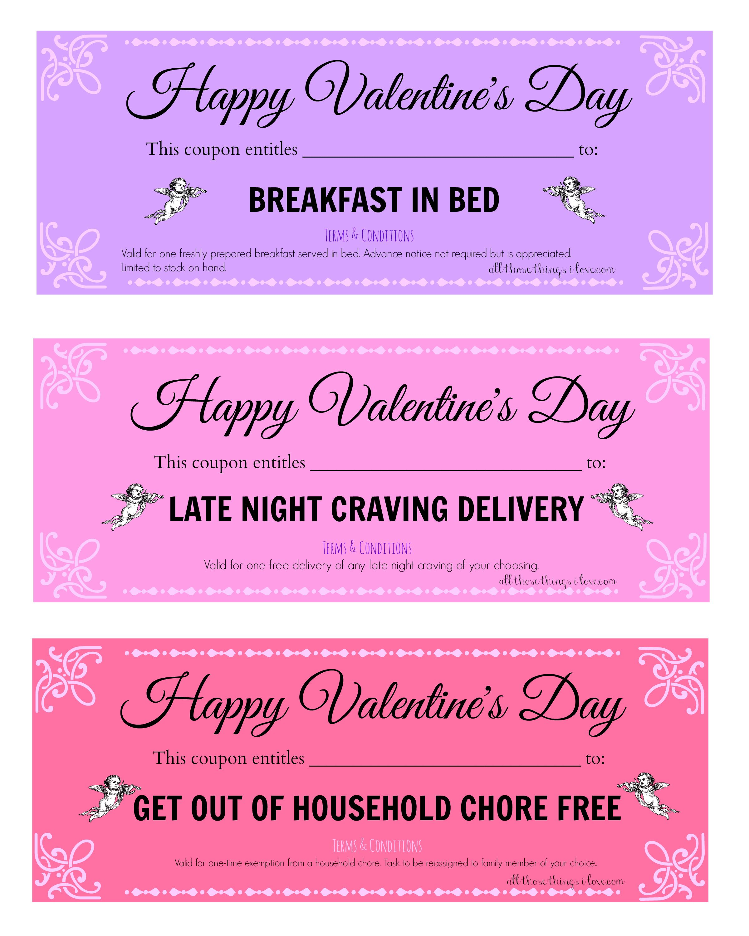 FREE Valentine's Day Printable Love Coupons | AllThoseThingsILove ...