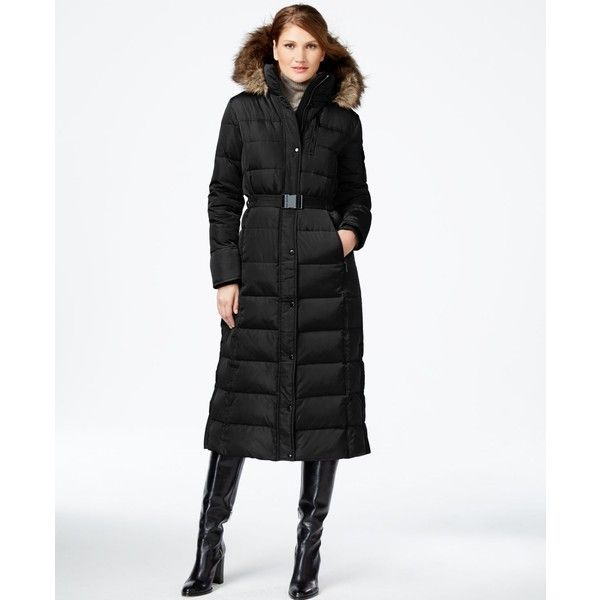 Michael Michael Kors Belted Maxi Puffer Coat ($195) ❤ liked on ...