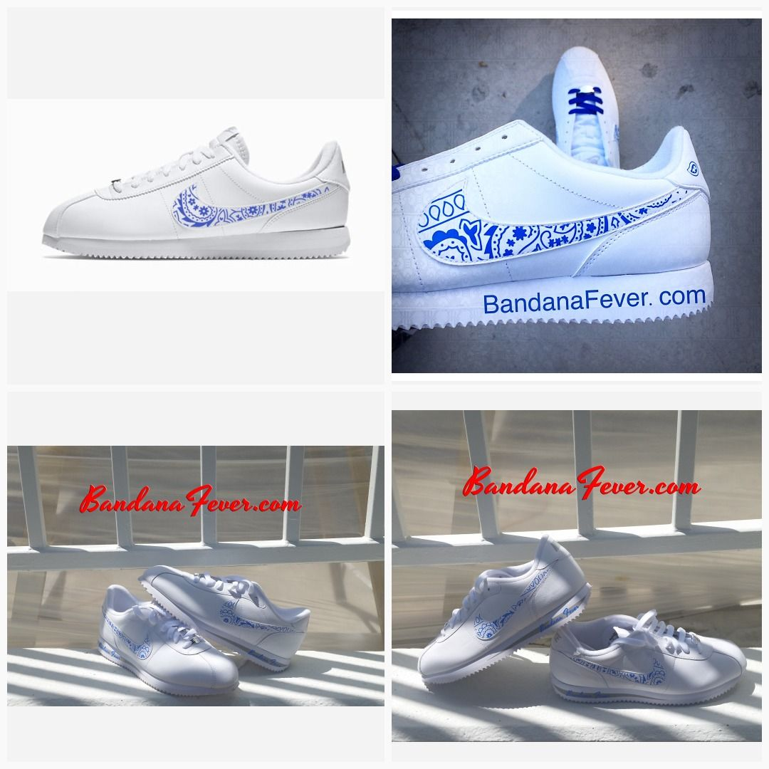 967005851120 Bandana Fever Royal Blue Bandana Print Custom White Nike Cortez Shoes   sneakers  la